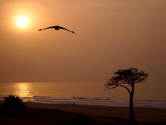 Sunset on Gambia beach