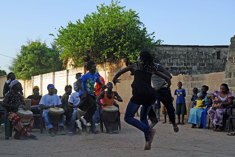 Drumming and dancing at a traditional West Africa weding, The Gambia